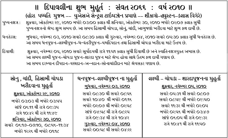 Diwali Shubh Muhurats 2010 in Gujarati for Central US Timezone