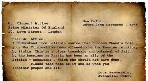 Letter to England PM about Subhash Candara Bose By PM Nehru
