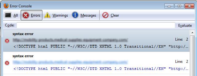 Syntax error on Doctype